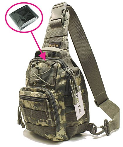 - TravTac Stage I Small Premium Everyday Carry Tactical Sling Bag 900D (ACU Camo 2.0) - Includes Emergency Blanket