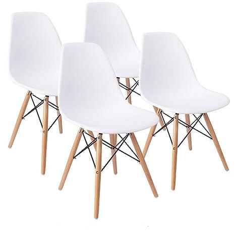 Comfortableplus Juego de 4 sillas de Comedor Eiffel Retro Asiento de plástico y Las piernas de