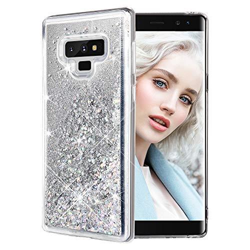 Maxdara Case for Galaxy Note 9 Glitter Case Liquid Glitter Bling Luxury Sparkle Floating Soft TPU Bumper Pretty Cute Fashion Girls Women Case for Samsung Galaxy Note 9 (Silver)
