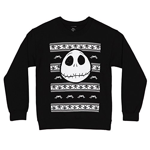 Nightmare Before Christmas Spider & Skulls Crewneck Sweatshirt (X-Large) Black -