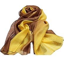 Women Silk Scarf Gradient Color Long Lightweight Sunscreen Stole Shawls