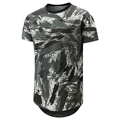 (KLIEGOU Mens Hipster Hip Hop Ripped Round Hemline Pattern Print T Shirt (188 White+Gray M))