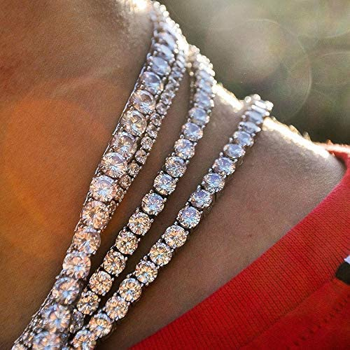 GOLD IDEA JEWELRY Tripod Iced Out Hip Hop Necklace 4mm/5mm Mens Cubic Zirconia Tennis Chain Stainless Steel