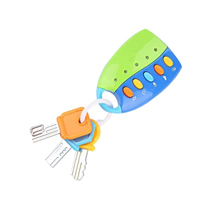 Musical Car Key Toy Colorful Baby Toy Smart Remote Car Control Musical Pretend Play Keychain Pretend Education Toys with Sound Light(Blue) : Baby