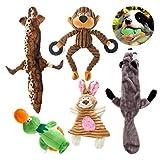 #5: Jostart 5 Pack Dog Squeaky Toys - Plush Dog Toy - No Stuffing Dog Toys - Chew Toys - Pet Toys - Duck Toy - Raccoon Toy - Wolf Toy – Rabbit Toy - Monkey Toy For Small Medium Large Dog