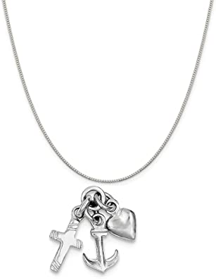 Mireval Sterling Silver Dolphin Charm Holder on a Sterling Silver Chain Necklace 16-20