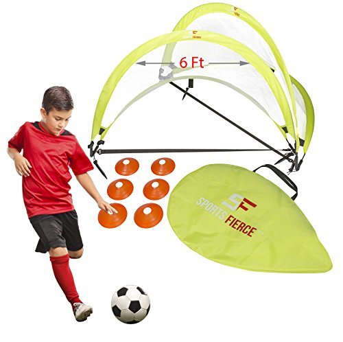 SportsFierce Pop Up Soccer Goals, 2 Portable Soccer nets with 6 cones and a carry bag, Foldable Field Training Equipment Set (6 (Game Goal Net)