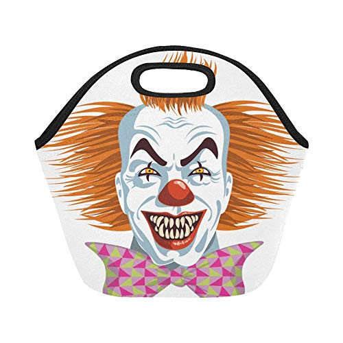 Insulated Neoprene Lunch Bag Evil Killer Clown Large Size Reusable Thermal Thick Lunch Tote Bags Lunch Boxes For Outdoor Work Office School -