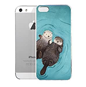 Light weight with strong PC plastic case for Iphone 5/5s Popular Art Otterly Romantic Otters Holding Hands
