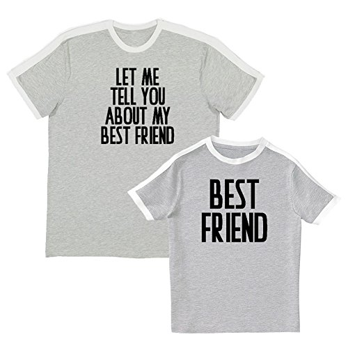 We Match!! - Let Me Tell You About My Best Friend & Best Friend - Matching Adult Soccer Ringer T-Shirt & Kids T-Shirt Set (YTH X-Large, Adult 2XL, Heather, Black Print)