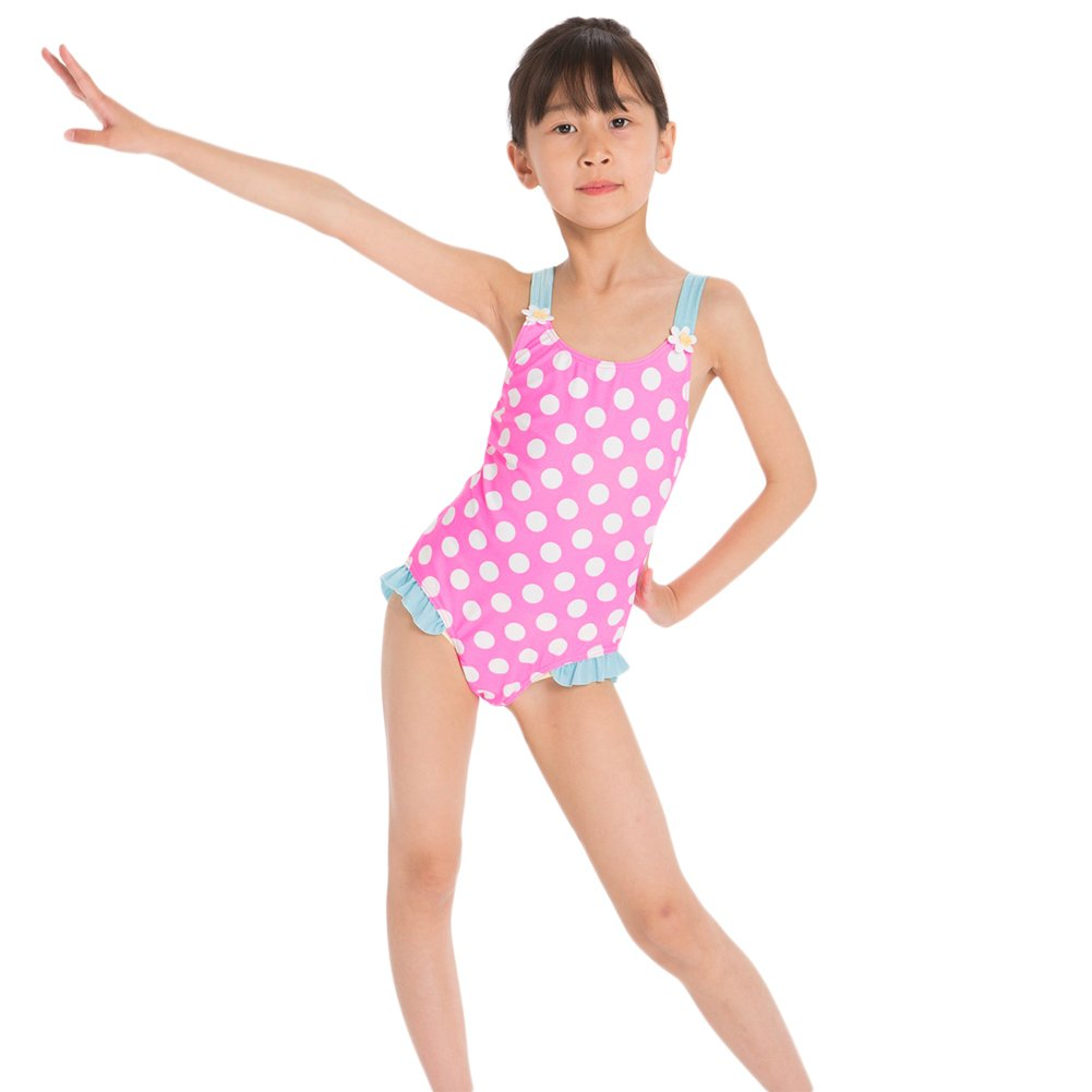 Girls One Piece Swimsuit Spaghetti Straps Polka Dot Striped Tankini Swimming Costume Beachwear Summer Toddler Baby Sleeveless Ruffle Swimwear Bikini Bathing Suit Swim Set Surfing Outfits for Kids