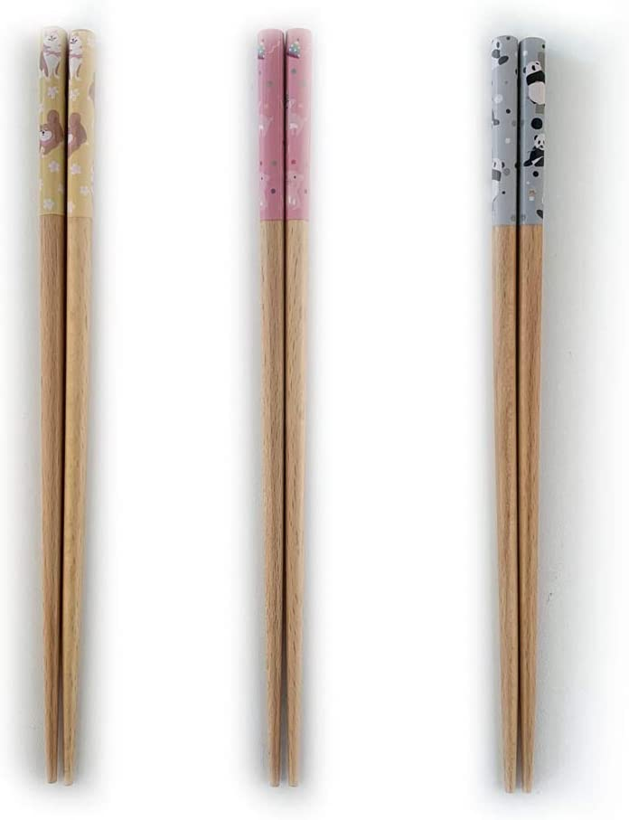 GAKA Wooden Chopsticks, 9 Inches Top Grade Japanese Natural Wood Chopsticks, Reusable Classic Japanese Style,Gift Set 3 Pairs