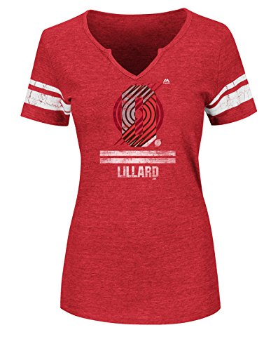 NBA Portland Trail Blazers Adult Women NBA Women Player to the Top Notch Neck Tee, XXL, Athletic Red Heather-White