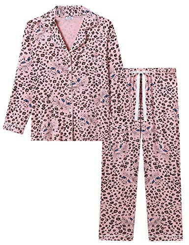 Joyaria Womens Soft Bamboo Pajama Sets Button Down Long Sleeve Pj Pants Set Sleepwear (Leapard,Medium)