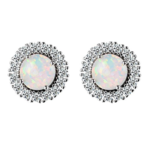 Bamos Jewelry Girls 925 Wedding Gift Silver Stud Earrings White Opal Diamonds Stud for Her
