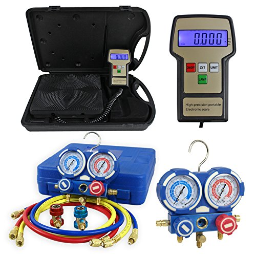 F2C Digital Refrigerant Electronic Charging Scale HVAC AC Manifold Gauge Set R134a