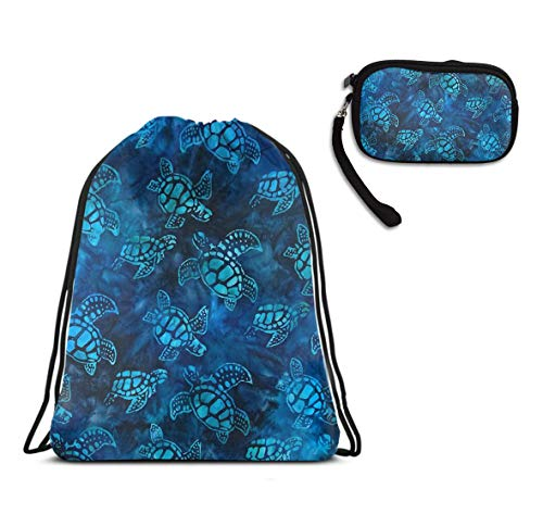 Watercolor Blue Sea Turtle Drawstring Backpack Gym Swim Rucksack, Water Resistant Cinch Sackpack Football Bag Large Size Backpack With Clutch Bag Handbag Gift For Women]()