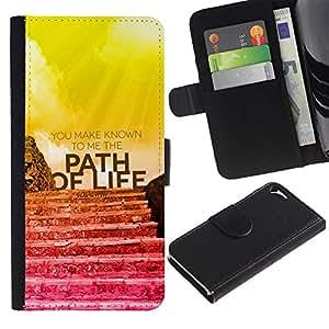 LASTONE PHONE CASE / Lujo Billetera de Cuero Caso del tirón Titular de la tarjeta Flip Carcasa Funda para Apple Iphone 5 / 5S / BIBLE You Make Known To Me The Path Of Life