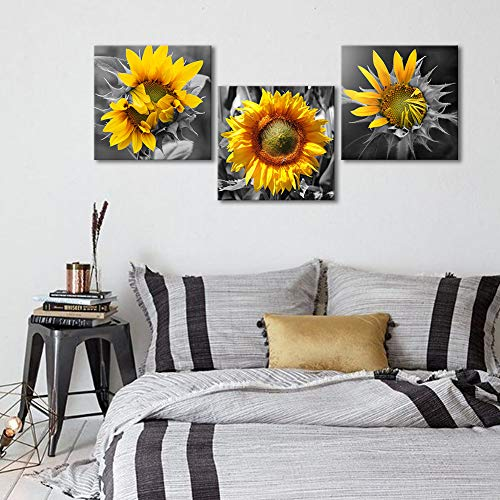 Bedroom Wall Decor Modern Sunflower Decor for Bedroom Bathroom Kithen Wall Decor Black and White Yellow Canvas Art Wall Decoration for Office 3 Piece Canvas Wall Art Set Sunflower Art Picture Framed