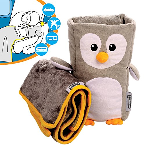 Kids Travel Pillow and Travel Blanket set - 'Tux' Armrest Buddy Transforms Any Armrest Into a Comfy Childs Pillow