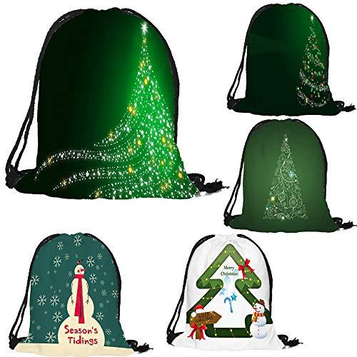 ✈ HYIRI Merry Christmas Candy Bag High Capacity Pocket Drawstring Storage Bag