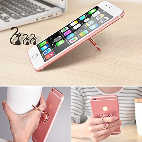 Finger Ring Stand, Cell Phone Ring Stand Holder Grip Kickstand, 180°Flip&360°Rotation Universal Smart Phone iPhone Ring for iPhone X 8 8 Plus 7 7 Plus, Samsung Galaxy, Note,LG, PSP (Cat1-Rose Gold)