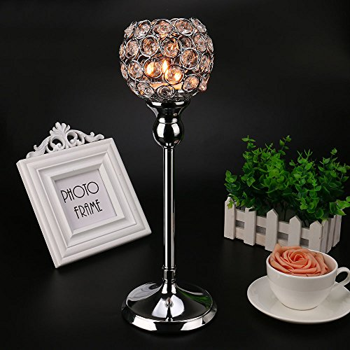 Gotian Valentines Day Mother's Day Modern Light Lantern Candle Cup Holders, Crystal Tea Candlestick Light Candle Holders/Candle Shade for Wedding Coffee Table Dining Room (M:121340cm, Silver) ()