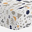 Carousel Designs Taupe and Windsor Navy Baby Woodland Crib Sheet - Organic 100% Cotton Fitted Crib Sheet - Made in the USA