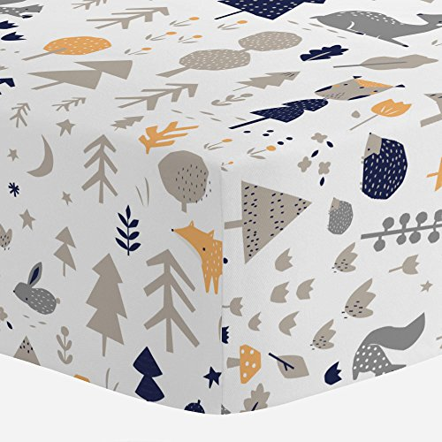 Carousel-Designs-Taupe-and-Windsor-Navy-Baby-Woodland-Crib-Sheet-Organic-100-Cotton-Fitted-Crib-Sheet-Made-in-the-USA