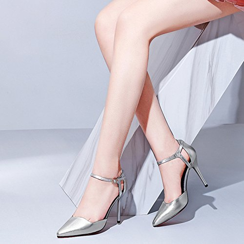Bureau Cuir à Hauts Femmes Cheville Creux Sandales De De Talons Travail Dames à Silver Pointues Pompes Hauts Bride La Talons Sandales Chaussures En à a884xwq5