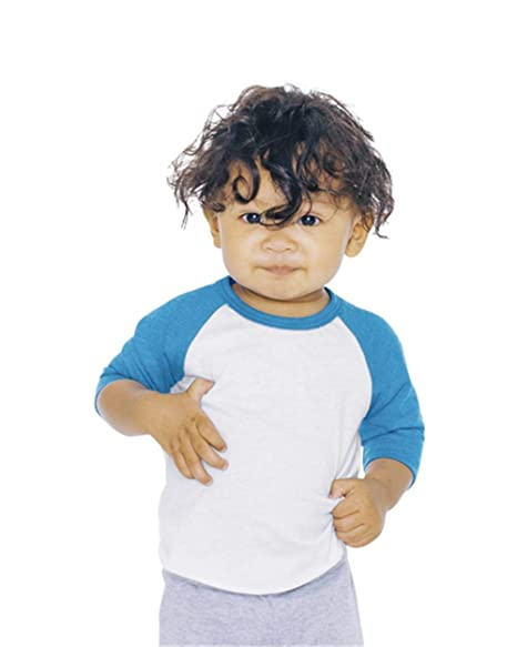 9336f5c22 American Apparel Infant Neon Poly-Cotton 3/4 Sleeve Raglan - White/Neon