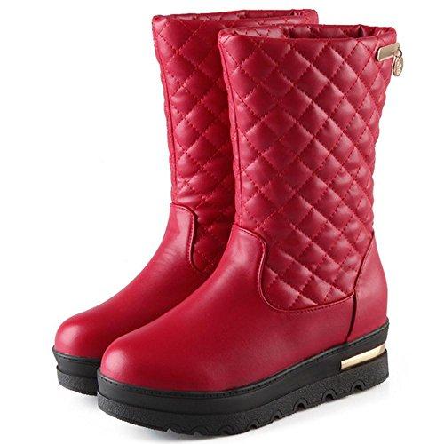 Mid Women's Hidden TAOFFEN Boots Heel Red wRqnHnvF5