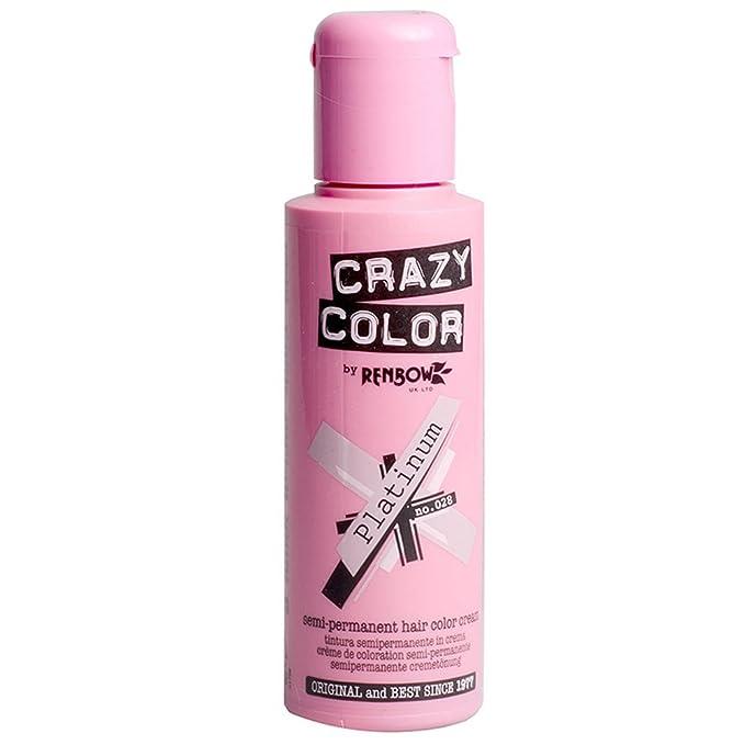 Crazy Color Semi-Permanent Colour Hair Dye 100ml (Platinum): Amazon ...
