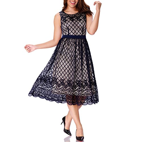 One Sight Women's Sleeveless Lace Dress Boat Neck Swing A Line Midi Dress, Navy Blue, - One Sight