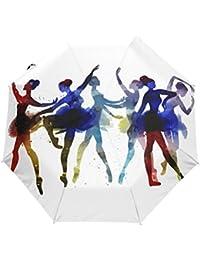 Ballerina Dancing Watercolor Auto Open Close Foldable Windproof Travel Umbrella