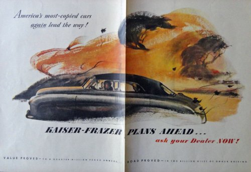 Kaiser-Frazer Cars, 40's Print Ad. Color Illustration for sale  Delivered anywhere in USA