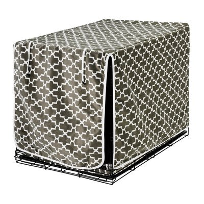 Luxury Diam Microvelvet Dog Crate Cover Size: Medium (19' H x 30' W x 21' D), Color: Graphite Lattice (acorn)