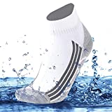 SuMade Waterproof Camping Socks, Unisex Stylish Outdoor Snug Dry Fit 100% Water Resistant Sport Socks for Hiking Running 1 Pair (White, Small)