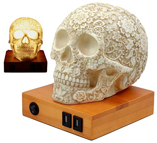 - Ebros Gift Day of The Dead Floral Skull Lamp Table Lamp Figurine with 2 USB Charging Ports & LED Lightbulb