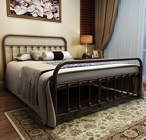URODECOR Metal Bed Frame Queen Size Headboard and Footboard The Country Style Iron-Art Double Bed The Metal Structure, Antique Bronze Brown Baking Paint.Sturdy Metal Frame Premium Steel Slat Suppot ()