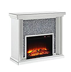 Electric Fireplace with Faux Crystals Inlay