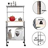 "Lucky Tree 49"" Tall 4-Tire Rolling Baker Rack Kitchen Microwave Oven Stand Storage Shelving Cart with Chrome Shelves and Bamboo Cutting Board on Wheels For Sale"
