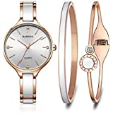 MAMONA Women's Quartz Watch Gift Set Crystal Accented Ceramic and Stainless Steel L3877GT (Rose Gold)