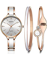 Women's Quartz Watch Gift Set Crystal Accented Ceramic and Stainless Steel Rose-Gold L3877RGGT