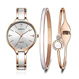 MAMONA Women's Quartz Watch Gift Set Crystal Accented Ceramic and Stainless Steel Rose-Gold L3877RGGT