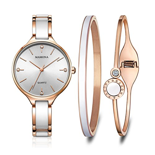 MAMONA-Womens-Quartz-Watch-Gift-Set-Crystal-Accented-Ceramic-and-Stainless-Steel-Rose-Gold-L3877RGGT