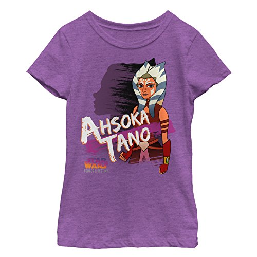 Star Wars Forces of Destiny Girls' Ahsoka Shadow Purple Berry T-Shirt
