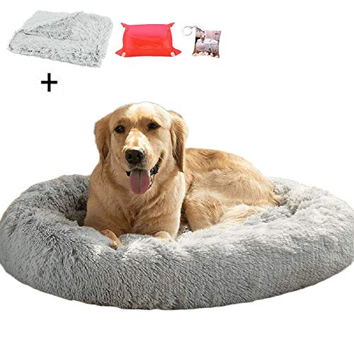 Ailotrd Fluffy Faux Fur Dog Bed Sofa Donut Calming Pet Bed