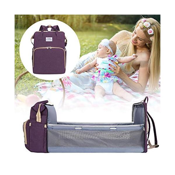 Borsa Portatile per Pannolini Multifunzionale per Bambini da Viaggio, Borsa Fasciatoio Portatile per La Mamma, Zaino… 5