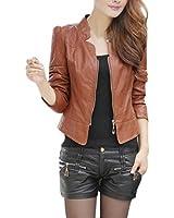 BOBORA Donna PU Leather Abiti Cappotto Slim Motorcycle Leather Zipper Giacca